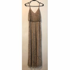 Adrianna Papell Beaded Dress - taupe/pink size 2